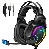 Cuffie Gaming PS4 PS5 Xbox One Stereo Audio Surround 3D Bass Cuffie con Microfono Cancellazione del Rumore, Controllo del Volume Luce RGB 3.5mm per PC Mac