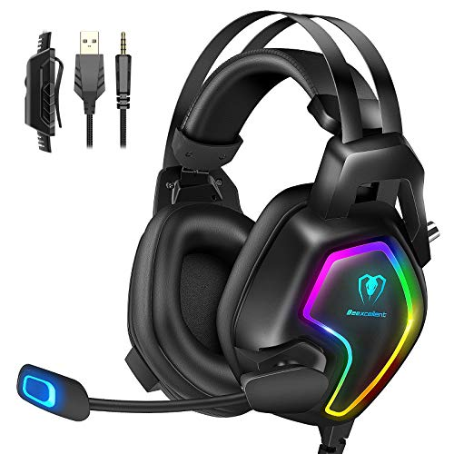 Cuffie Gaming per PS4 PC PS5 Xbox One Stereo Audio Surround 3D Bass Cuffie con Microfono Cancellazione del Rumore, Controllo del Volume Luce RGB 3.5mm per Mac
