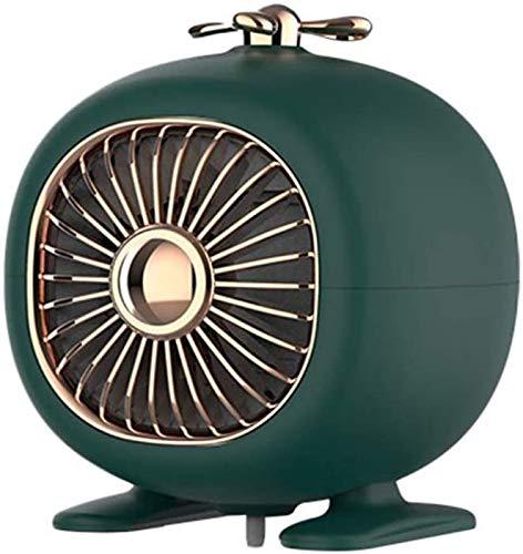 Calentador eléctrico de 400 W, 3S rápida de calefacción, con temporizador ajustable Termostato personal Calefactores Ventilador, bajo nivel de ruido de 45 dB, con la punta de protección en caso,Verde