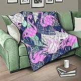 AXGM Colcha de cama triangular, diseño de flamencos, color rosa y azul, manta suave y cálida, para el sofá, color blanco, 230 x 260 cm