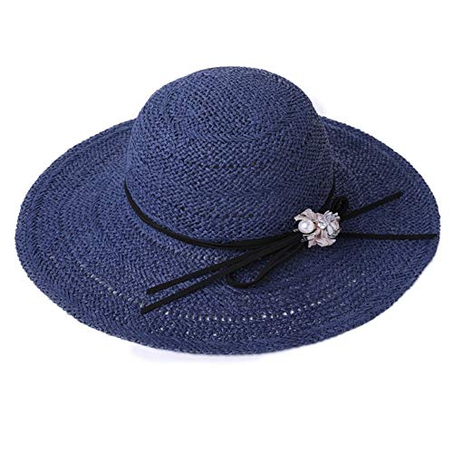 ZXL zomerhoed, zonnehoed dames strogevlochten ouders-kind-hoed afneembaar winddicht touw opvouwbaar draagbaar, 4 kleuren optioneel dames zonnehoed (kleur: roze, maat: 57cm) 57cm Dark Blue