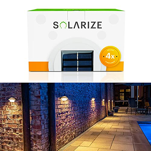 Incredalight - Solarize Waterproof Outdoor Solar Gutter Lights (4 Lights), LED Warm Light for Outside Use: Gutter, Roof, Fence, Patio, Porch, Garden, Wall, Yard, Attic, or Walkway