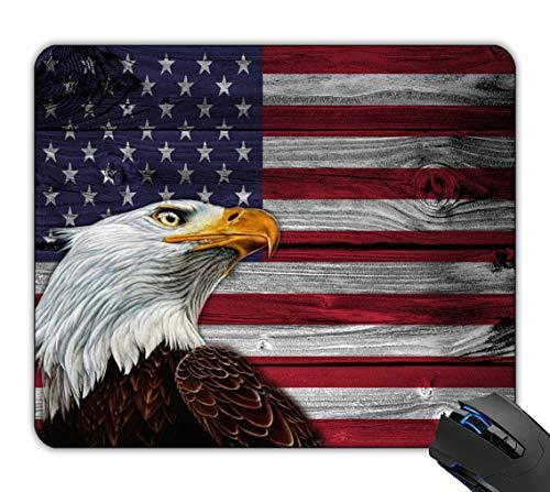 Mauspad-Adler auf hölzerner amerikanischer Flagge kundenspezifisches rutschfestes Spiel Mo.Verwenden Sie Mat Pad Mousepad