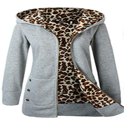 Hhckhxww Herbst Und Winter Kapuze Dicker Leopardenmuster Pullover Plus Samt Plus Size Mantel Damenbekleidung