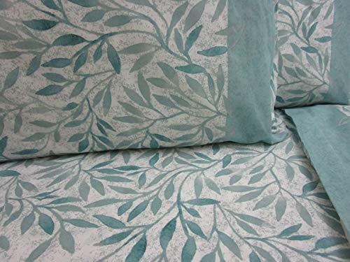 PAGO POCO Bettwäsche-Set für Doppelbett mit Blattmuster, 100 % Baumwolle aus Naturfaser, Farben: Braun und Grün