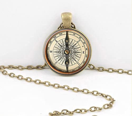 Vintage Compass True North Compass Necklace Jewelry or Key Chain Key Ring product image