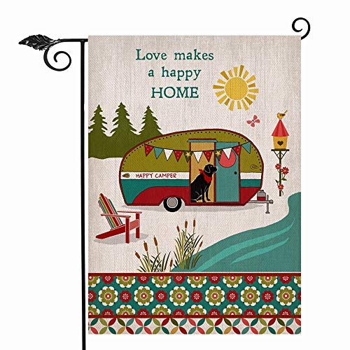 Hzppyz Summer Camper Garden Flag Double Sided, Love Makes a Happy Home Decorative House Yard Outdoor Flag, Spring Camping Trailer Inspirational Campsite Chair Decor Puppy Dog Outside Decoration 12x18