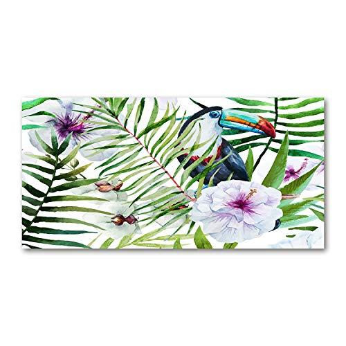 Tulup Glas-Bild Wandbild aus Glas - Wandkunst - Wandbild hinter gehärtetem Sicherheitsglas - Dekorative Wand für Küche & Wohnzimmer 100x50 - Tiere - Tropischer Tukan - Mehrfarbig