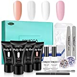 TOMICCA Polygel Kit Complet pour Ongle Poly Gel Extension Builder Gel UV Ongle Constructeur,Kit d'Extensions d'Ongles, Kit Manucure Semi Permanent- 30ML*4 Cristal...