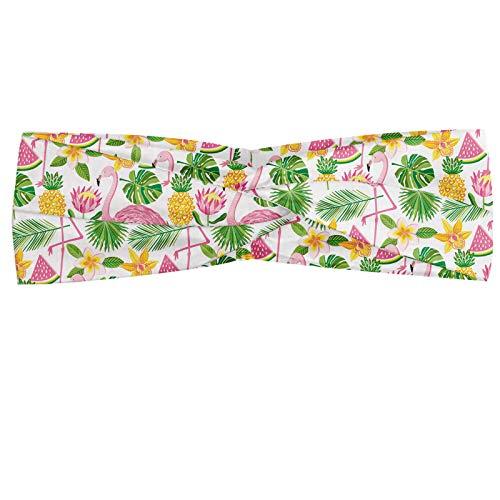 ABAKUHAUS Exotisch Hoofdband, Flamingo's en fruit Pattern, Elastische en Zachte Bandana voor Dames, voor Sport en Dagelijks Gebruik, Roze Groen Mosterd