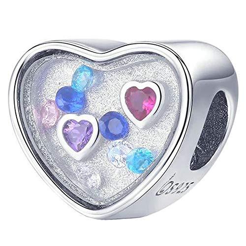 Herz Kristall Aquarium Charm mit Kristallen für Pandora 925 Sterling Silber