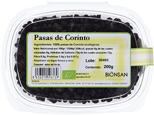 Bionsan Pasas de Corinto Ecológicas - 6 Cajitas de 200 gr - Total: 1200 gr
