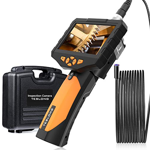 Teslong Inspection Camera 14.5MM, Industrial Endoscope-Borescope, 5.0 Magapixel Auto Focus, 4.5 Inches HD, 9.84 ft Cable with 4 LED Lights, 4.5inchs IPS Screen, 32 GB Card, IP67 Waterproof