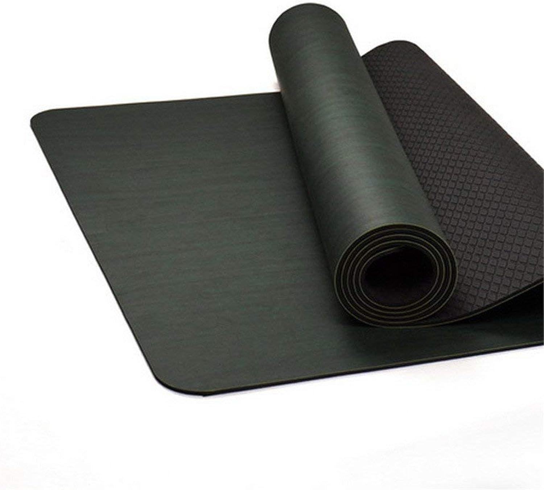 FUWUX Home schwarz Fiber 10mm Umweltschutz Yogamatte Rutschfeste Verdickung Verbreitert Sport Fitnessmatte