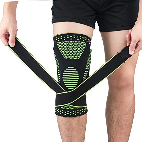 Baywell Kniebandage, Rutschfeste Einstellbar Kompression Knieschoner, Schmerzlinderung,Wiederherstellung nach Verletzungen Atmungsaktiver Knieorthese, Elastische Sport Unisex Knieschützer