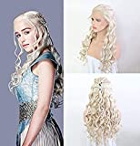 RDY 26' Daenerys Targaryen Similar Braiding Hair Style Wig Blonde Body Wave Synthetic Lace Front Wig with Six Plaits Pre Plucked Glueless Half Hand Tied Cosplay Party Wigs 150% Density