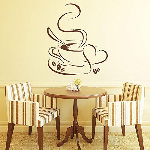 """Wandtattoo Loft Wandaufkleber """"Kaffee Tasse mit Herz"""" - Wandtattoo Küche Dekoration/ 49 Farben / 4 Größen /..."""