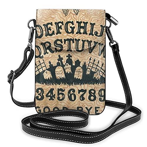 Petit sac à bandoulière pour téléphone portable - Pour femme - - Ouija Board Spirit Divination Board Croix Tomb Eyes Gothique Noir, Taille unique