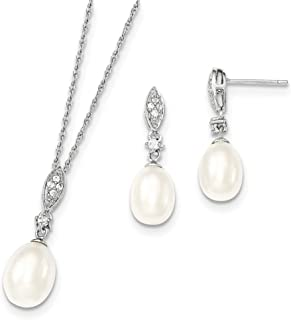 Sterling Silver 8-9mm White Freshwater Cultured Pearl Cubic Zirconia Necklace and Earrings Set