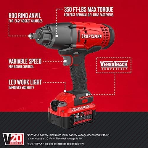 CRAFTSMAN V20 Impact Wrench Cordless Kit (CMCF900M1)