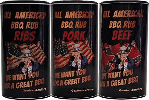 All American BBQ Rub Set - Pork, Beef & Ribs - Authentisch Amerikanische Barbecue Trockenmarinaden Für Unverwechselbaren Grillgenuss - 3x350g