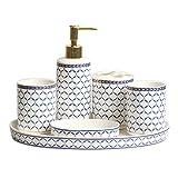 Dosificador Jabon Juego de accesorios de baño de cerámica, artículos for el hogar de 6 piezas, que incluye dispensador de jabón, cepillo for dientes, portavasos, jabonera y bandeja práctica Regalo de