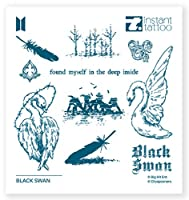 [Instant Tattoo x BTS] BTS公式グッズ BTS Music テーマ Black swan ブラックスウォン (1個 / 2枚入り) 本物のようにリアルな タトゥーシール タトゥーステッカー インスタントタトゥー Instant Tattoo 防水 かわいい 水なし10秒で完成