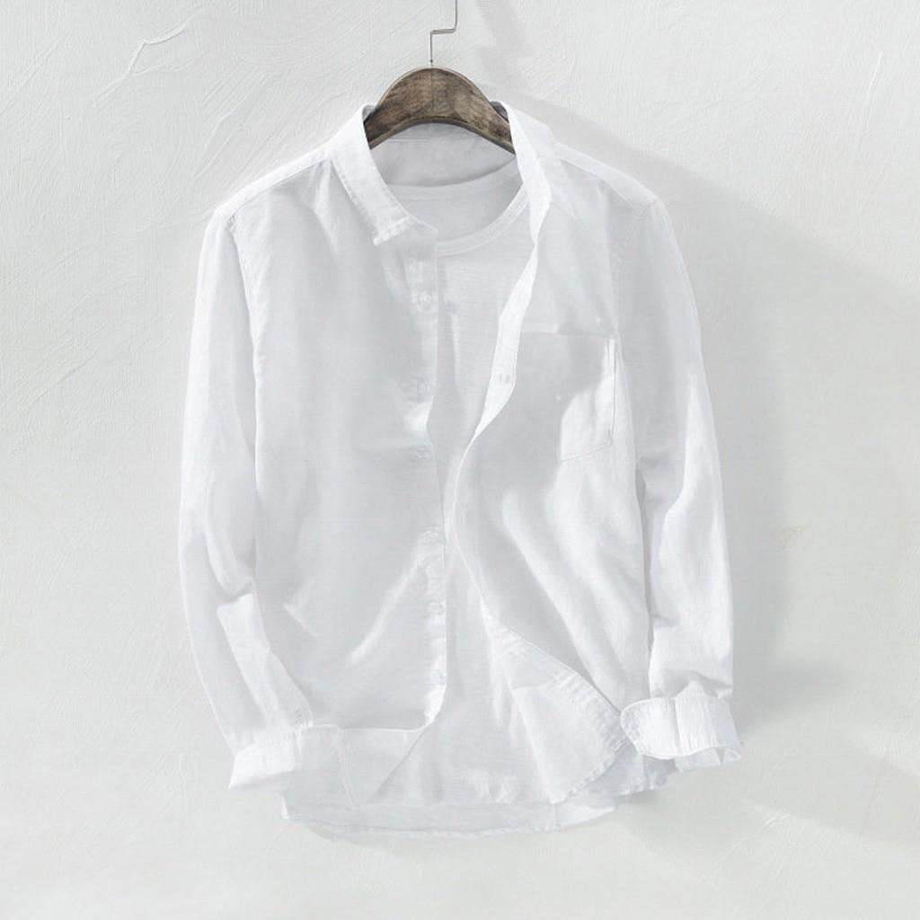KEEYO Mens Long-Sleeve Linen Shirts Regular-Fit Casual Button Down Loose Fit Beach Casual Hippie Henley Yoga Tops