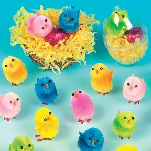 Baker Ross- Pollitos de Peluche de Colores (Pack de 12) -Crear Decoraciones de Primavera y Adornos de...