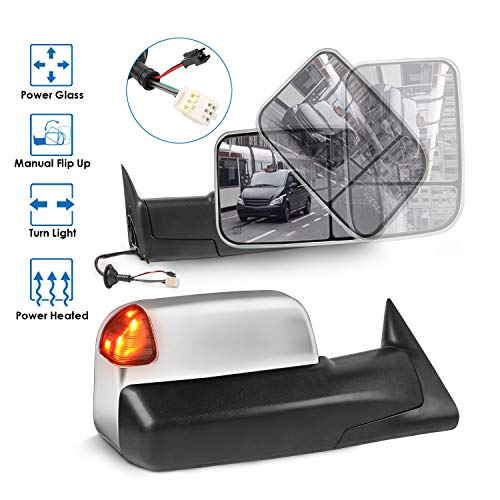 MOSTPLUS Towing Mirror Compatible for 1998-2002 Dodge Ram 1500 2500 3500 Power Heated Mirror w/Turn Light) (Chrome)