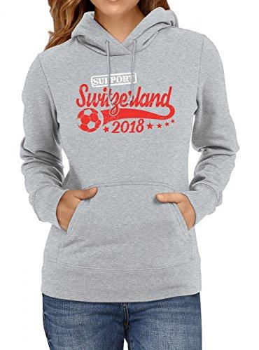 Shirt Happenz Schweiz Weltmeisterschaft 2018#25 Premium Hoodie Fan Trikot Fußball Weltmeisterschaft Nationalmannschaft Frauen Kapuzenpullover, Farbe:Graumeliert;Größe:XXL