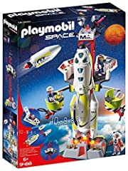 Get the rocket space-ready with this playset! Outfitted with working lights and sounds, This Rocket is ready to journey into space Help the crew tune up and check everything via the maintenance platform! Seat up to two astronauts in the rocket's cock...