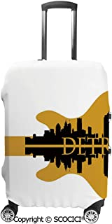 SCOCICI Luggage Bag Cover High Rise Buildings Silhouette Reflection Electric Guitar Instrument Elastic Suitcase Protective Cover Travel Luggage Case Cover