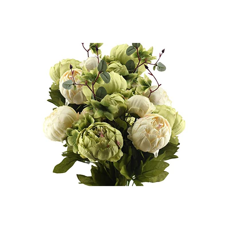 silk flower arrangements fiveseasonstuff vintage artificial peonies silk peony flowers and hydrangeas for wedding bridal home décor – beautiful floral centerpiece arrangement 2 bouquets (mixed cream beige and moss green)