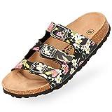BOnova Damen Pantolette Menorca in 7 Farben, Hausschuhe handgefertigt in der EU, Sommer-Sandalen mit DREI verstellbaren Riemen und Kork-Fußbett Black-Flower 39