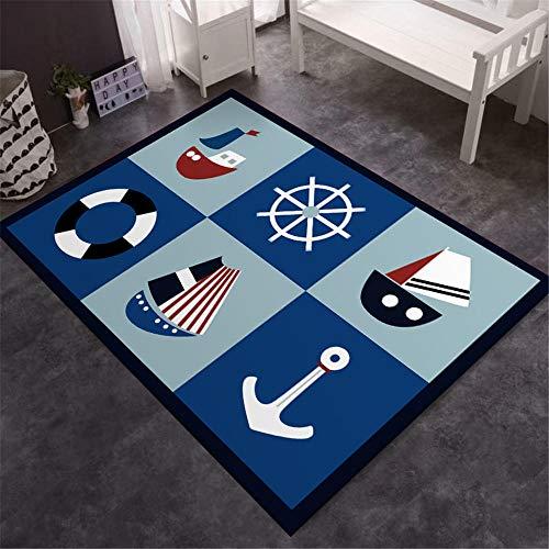 WQ-BBB Ocio El Dormitorio Alfombras Cuerpo Principal náutico Marinero de Dibujos Animados alfombras Salon Grandes Negro Blanco Gris Azul Rojo Hermosa sin alergias La Alfombrae 60X90cm
