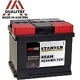 LANGZEIT Autobatterie 45Ah 12V 420A/EN ersetzt Starterbatterie 36AH 40AH 41AH 43AH 44AH 46AH 48AH 50AH doppelte Lebensdauer wartungsfrei vorgeladen auslaufsicher