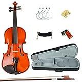Esound 1/16 ML0011A Massivholz Firnis Violine mit Hartschalenkoffer, Schulterstütze, Bogen, Kolophonium und Zusätzliche Saiten