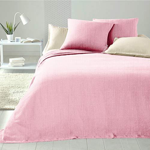 Colcha matrimonial de algodón - Manta ligera cama individual 1 plaza Primaveral verano tela decoración cubre todo gran foulard (Rosa claro matrimonial)