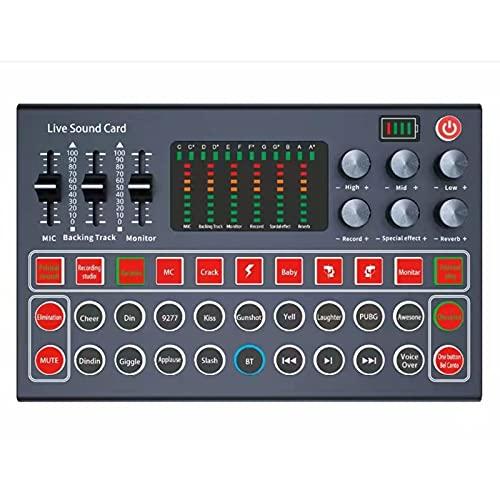 Mezclador de audio Mini sonido mezclador de sonido Control de voz inteligente M9 Tarjeta de sonido en vivo Cambiador de voz Múltiple Dispositivo de sonido de efectos de sonido divertido para transmisi