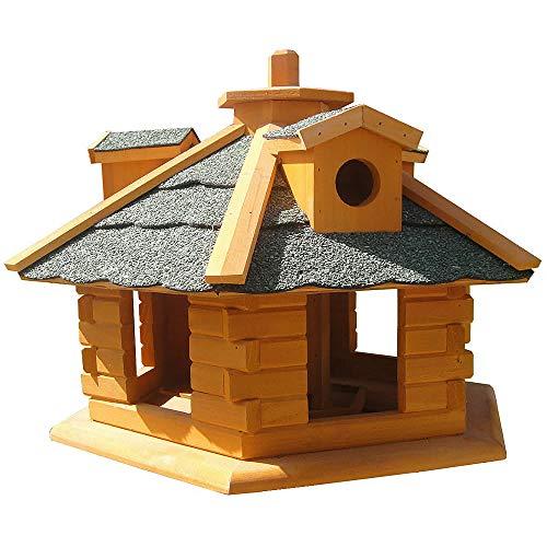 Melko Vogelhaus 6-eckig mit Bitumschindeln und Futterspender aus Holz 48 x 33 cm, vorbehandelt