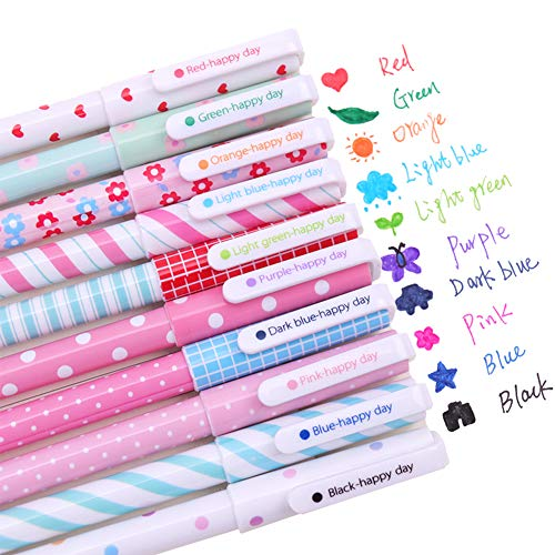 Cute Colored Pens for Women Kids Girls Polka Dots Colorful Gel ink Pens 0.5mm Fine Point Color Pens for Bullet Journaling Writing Planner Note Taking School Office Supplies, 10 Colors