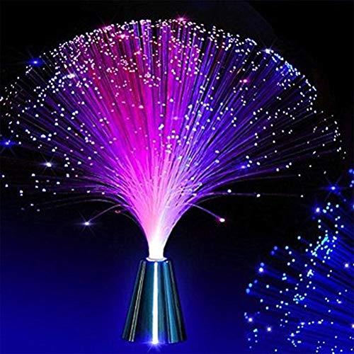 FuYouTa Lámpara de luz de fibra óptica lámpara de fibra óptica Hermosa lámpara de luz nocturna de fibra óptica LED con cambio romántico de color de fibra óptica