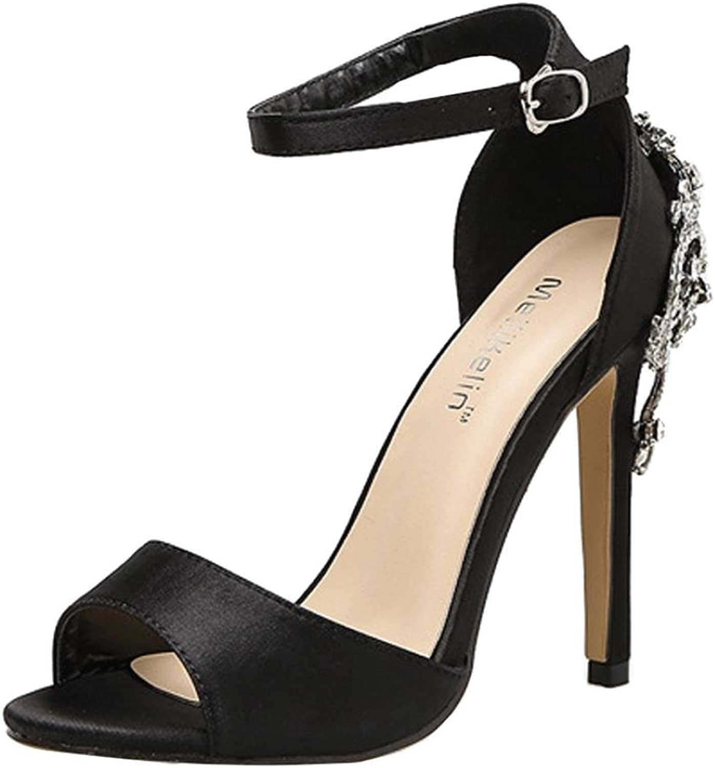 Women's Ankle Buckle Strappy Sandals Luxury Diamond Chunky Block High Heel - Formal, Wedding, Party Simple Classic Pump Summer (US 6, Black)