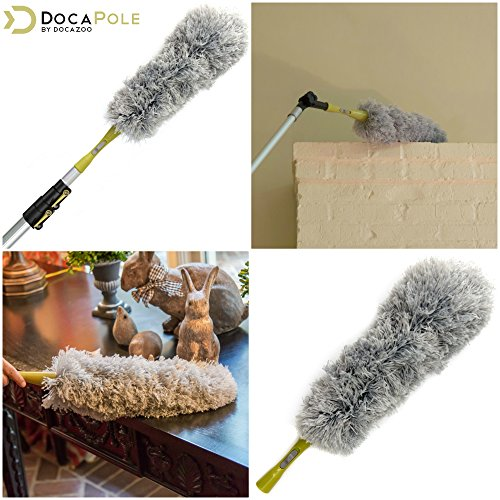 DocaPole Dusting Kit for Extension Pole or by Hand   Cleaning Kit Includes 3 Dusting Attachments   Cobweb Duster   Microfiber Feather Duster   Flexible Chenille Ceiling Fan Duster