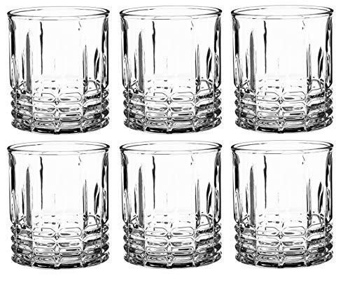 KADAX Juego de 6 vasos de agua transparentes con base reforzada, vasos de zumo de pared gruesa, vasos acanalados, vasos (bajos, 320 ml)