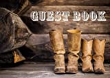 Guest Book For Wedding Western: Cowboy. Rustic. Unlined. Blank Pages. His And Hers Boots Photo Art Print.