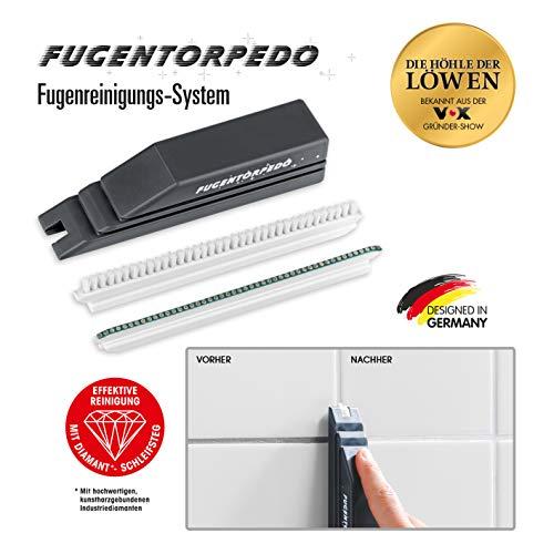 Fugentorpedo 00863 Basis-Set Griff, Fugenbürste & 1x Schleifsteg 3mm | Effektive Fugenreinigung | Für Zementfugen in Küche und Bad, Schwarz, One Size