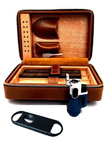 Fess Products Travel 4 Cigar Humidor, Spanish Cedar Wood Cigar Case, Portable Cigar Box with Humidifier, Cigar Cutter, Gift Box Comes with Pouch