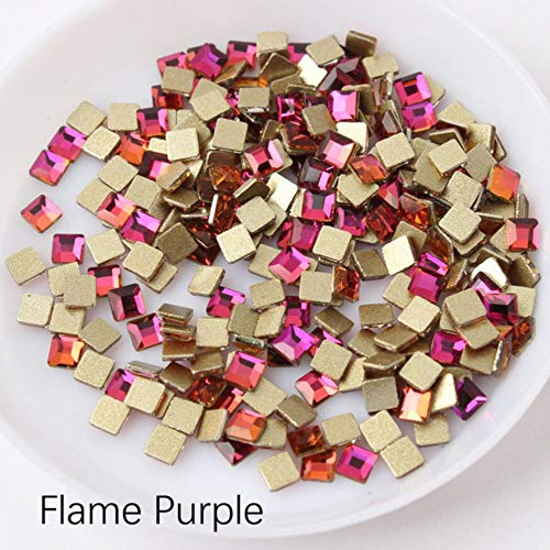 PENVEAT Hot Vente 3x3mm Place Nail Strass 30 / 100pcs Pierres de Cristal de Bricolage Décorations manucure Diamant pour Ongles Strass, Flamme Violet, Carré, 3x3mm 100pcs